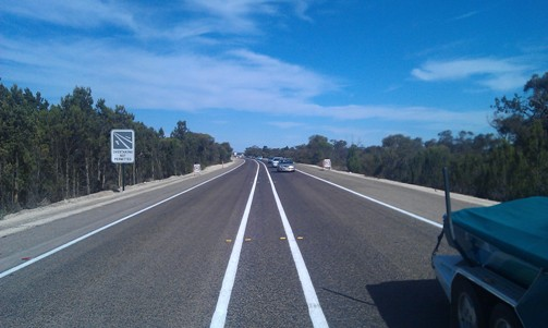 Image: New wide lines have been installed on a section of the Dukes Highway.