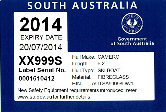 Image: boat registration label